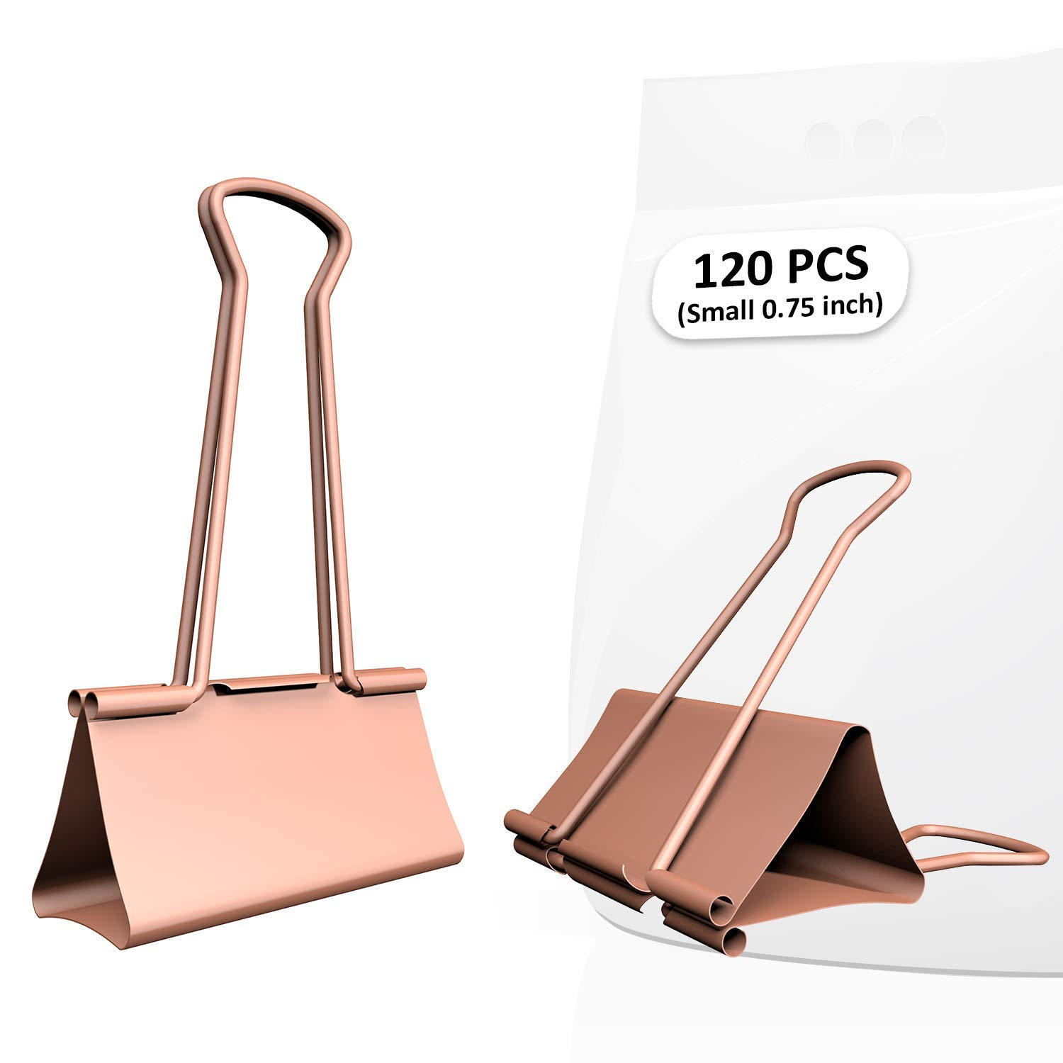 Nctinystore Binder Clips Small Metal Clamp - 3/4 in (0.75 inch)(Small, Rose Gold, 120 Count)