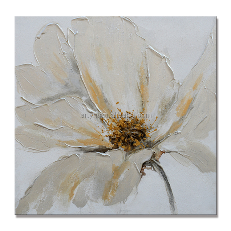 Best Selling Modern White Flower Canvas Art Oil Painting for Home Decor