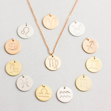 925 Silver Zodiac Sign 15mm Coin Pendant Engrave Gold Plated Necklace