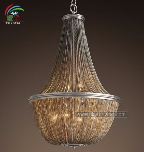 polished nickel decorative chain chandeliers