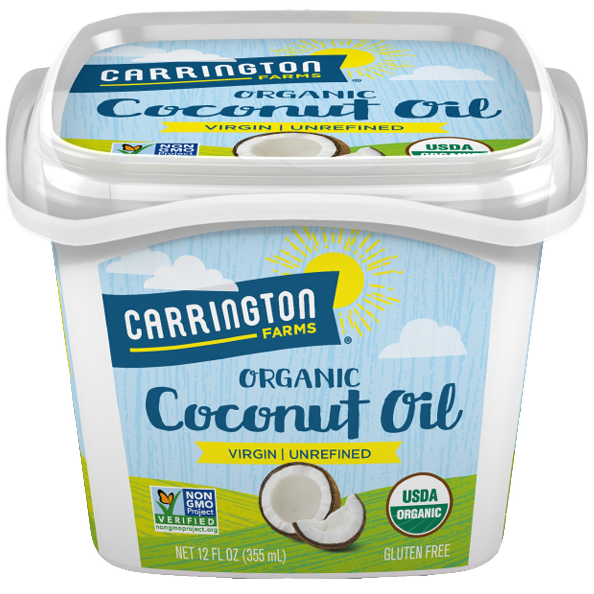 Carrington Farms Gluten Free, Unrefined, Cold Pressed, Extra Virgin Organic Coconut Oil, 12 oz. (Ounce), Coconut Oil For Skin & Hair Care, Cooking, Baking, Smoothies – Packaging May Vary