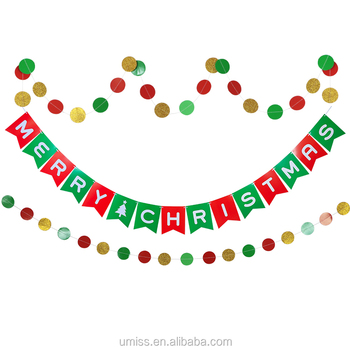 umiss 2017 merry christmas decorative letter hanging banner green red gold paper garland - Christmas Letter Decorations