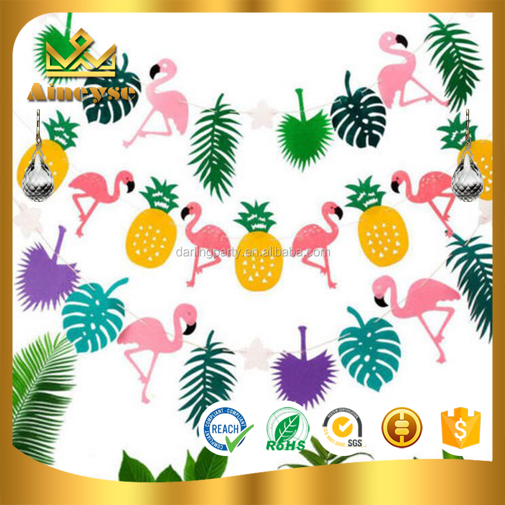 Tropical Hawaiian Flamingo Pineapple Banner for Summer Party Decor