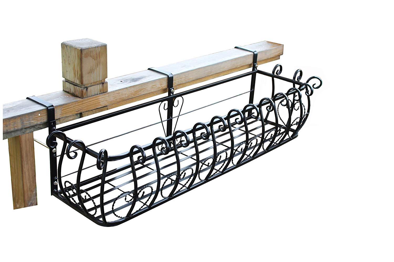 Get Quotations Railing Flower Box Holder Plants Hanging Basket Adjule Pot Shelf