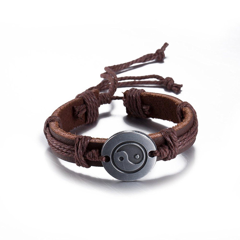 Unisex Men Women Brown Leather Bracelet Vintage Jewelry Taiji Bagua Circle Bangle Wristband