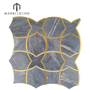 custom luxury bathroom tile water jet mosaic MOIRAI BARDIGLIO marble flooring tiles designs for sale