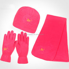 Solid Color Polyester 3 Piece Fleece set Hat, Scarf & Glove Women's Winter Set
