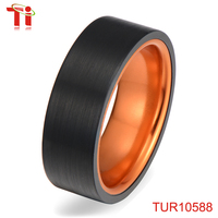 Dongguan Aohua Jewelry promotional gift holiday with factory price new IP black flat tungsten carbide ring for men TUR10588