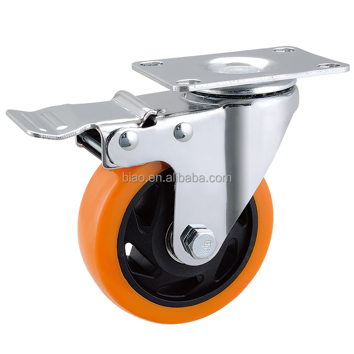 Wholesale 3 inch 75mm PU cabinet caster <strong>wheel</strong>