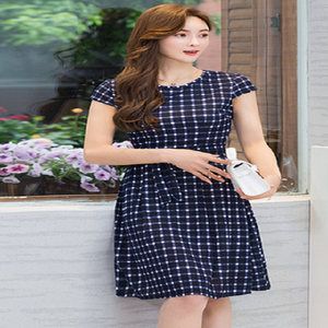 2019 summer new women's dress middle-aged mother with round neck floral Korean Slim short-sleeved skirt