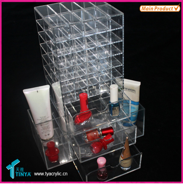 Import Kina Varer Custom Lip Gloss Containere, Akryl Makeup Sets, Counter Top Acryl Skuffer Læbestift Opbevaring Organizer