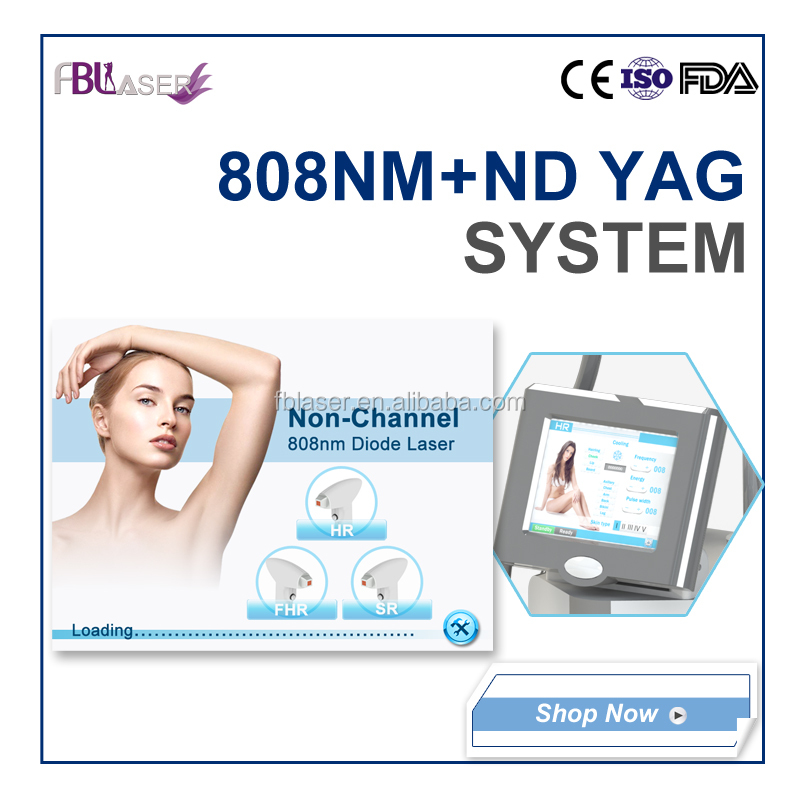 Multifunctional non channel 808nm diode and nd yag laser hair removal and tattoo removal machine