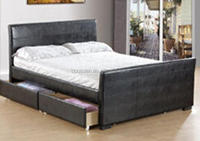 cheap leather wooden double bed with drawers, pu wooden bed picture, furniture living room BSD-450164