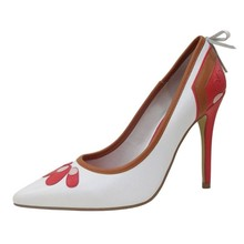 OEM and ODM PU leather shoes Top Level Autumn High Heel Pointed Toe White Red Coffee ladies high heel shoes pumps