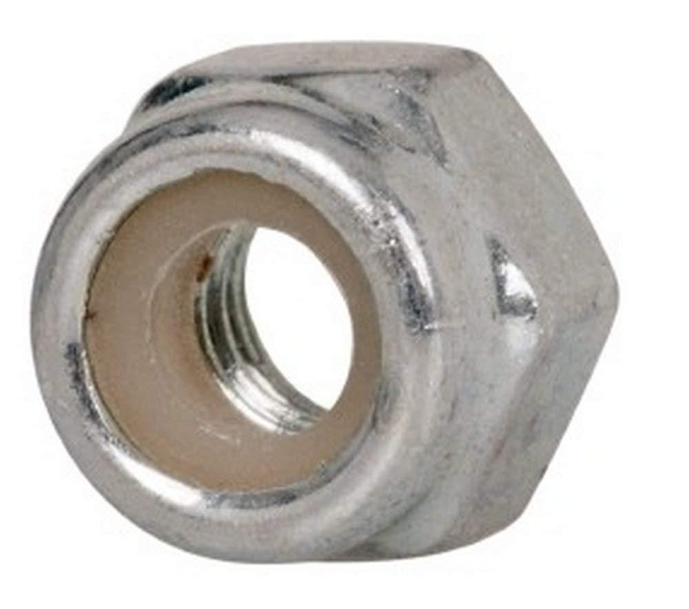 M4x0.70 Metric Coarse, Grade 8 Steel Hex Lock Nut with Nylon Insert 7mm Width Across Flats, 5mm High, Right Hand Thread, Zinc-Plated Finish
