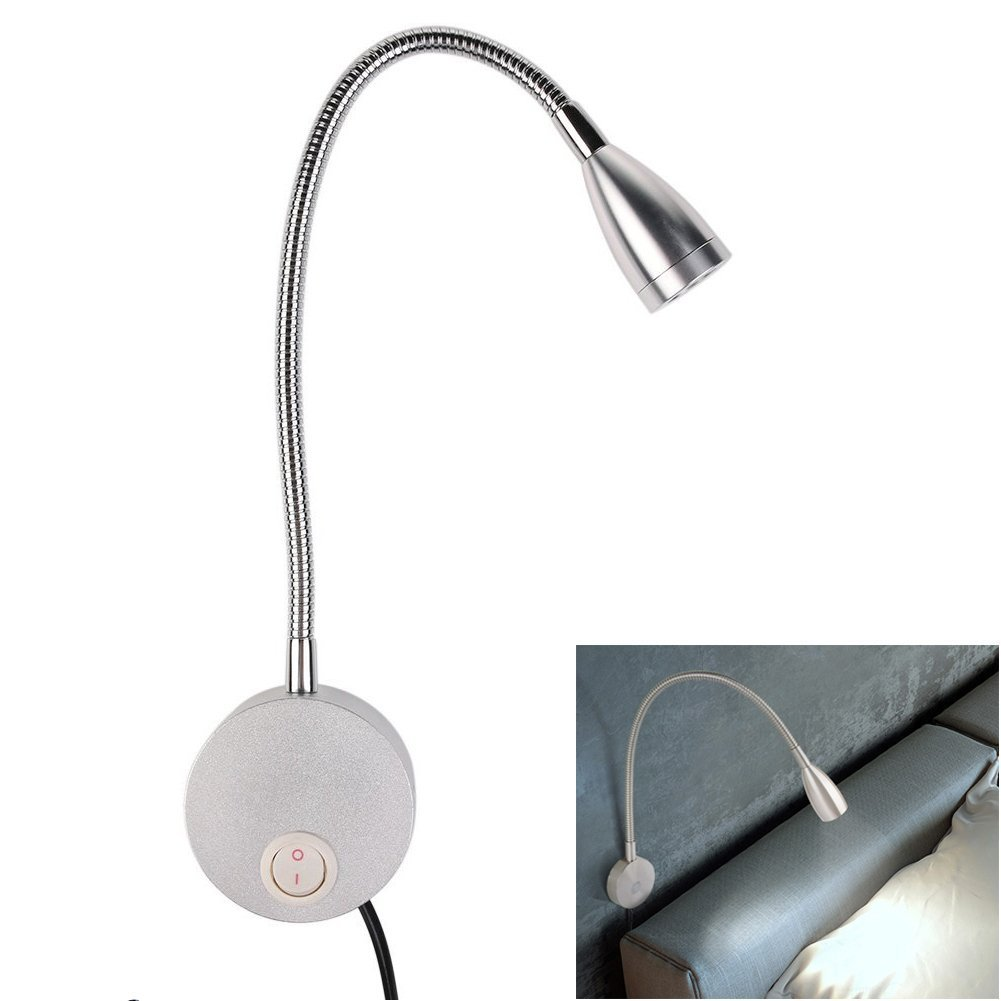 Bedside Reading Light, Flexible Gooseneck LED Bed Reading Lamp, Wall Mounted Spot Lamp Lights, Wall Light Sconce Lamp LED Lighting for Book Reading in Bed, 3W Bright Night Lighting Lamp with Switch