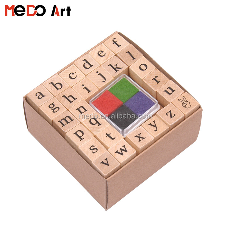 27pcs Custom Wooden Kids Rubber Stamp Arabic Alphabet Kit