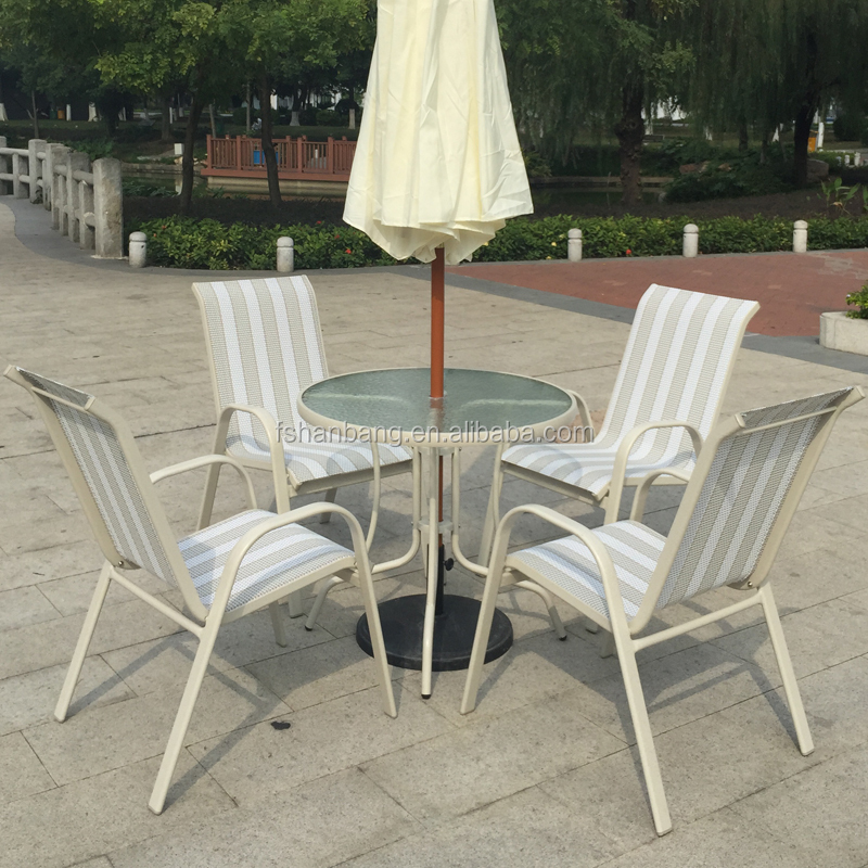 White Outdoor Garden Balcony Aluminum Sling Fabric Patio Furniture