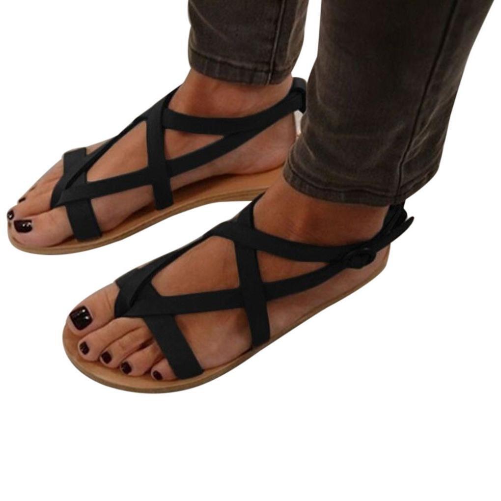 11538ae930e2 Get Quotations · Womens Ankle Buckle Sandals Flat Bohemia Flower Slim Strap  Flip Flop Bohemian Low Heeled Sandals Slide