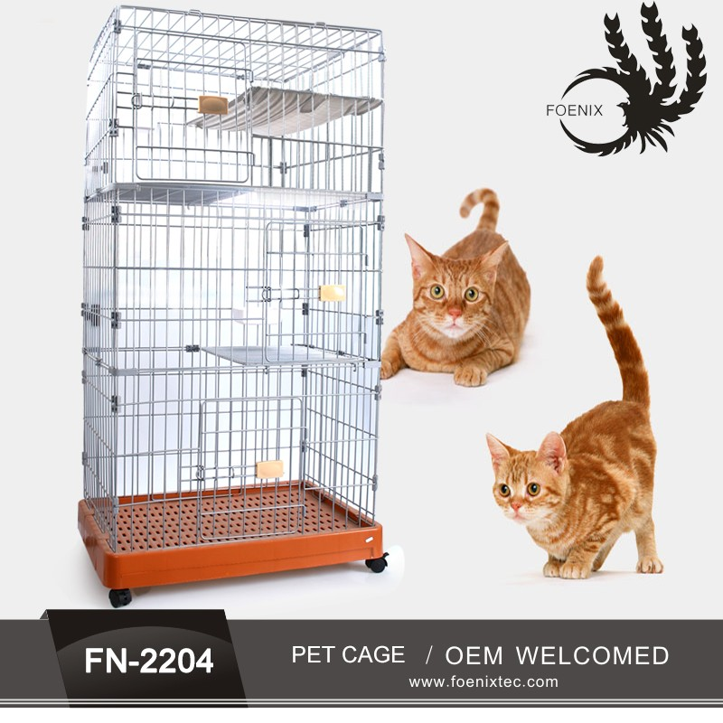 Dog cage foldable chrome wire cages pet cage stainless