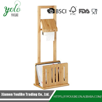 Nature Bamboo Toilet Paper Holder with Magazine Rack