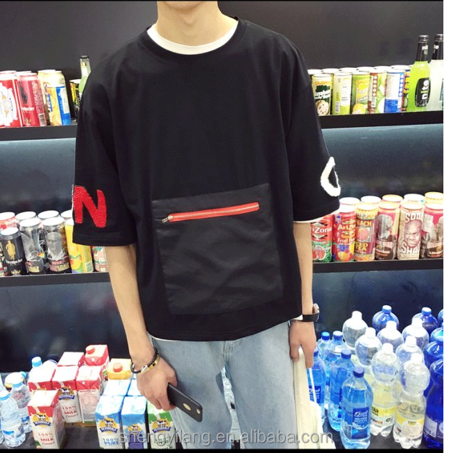 Boys stylish front zipper towel embroidery loose t shirts