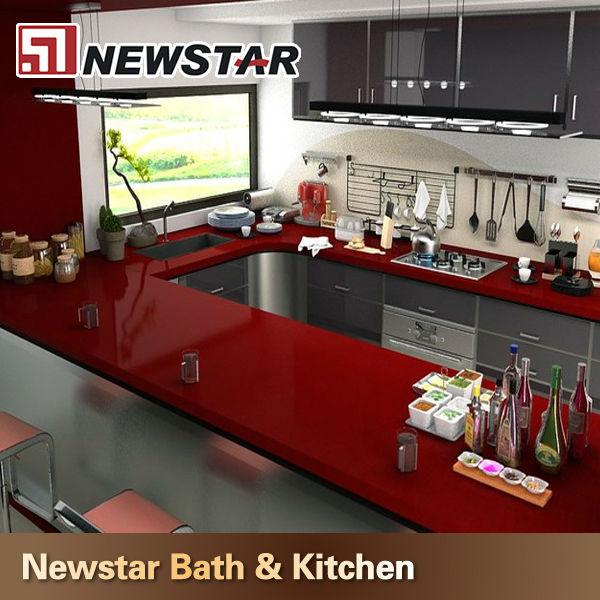 Red Quartz Kitchen Countertop: Rot Mirro Küche Quarz Countertop-Kunststein-Produkt ID