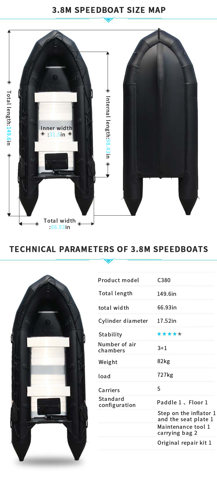 Black Fashionable Style Pvc Ce Certificate  Aluminum Inflatable 1.2 MM  one person kayak ce outboard motor boat
