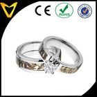 Wholesale Cubic Zirconia Wedding Rings Titanium Bands, 2 Piece His and Her's Matching Mossy Oak Duck Blind Camo Wedding Ring Set