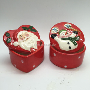 Red Heart Shaped Christmas Candy Cookie Jar Handmade Painting