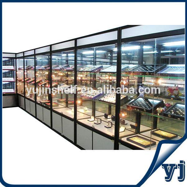 Floor Standing Adjustable Display Glass Shelves Mirror ...