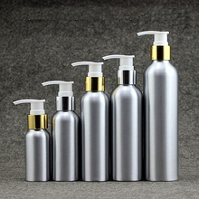 YM sale new product cosmetics packaging round shouldered aluminum shampoo bottles with pump cover