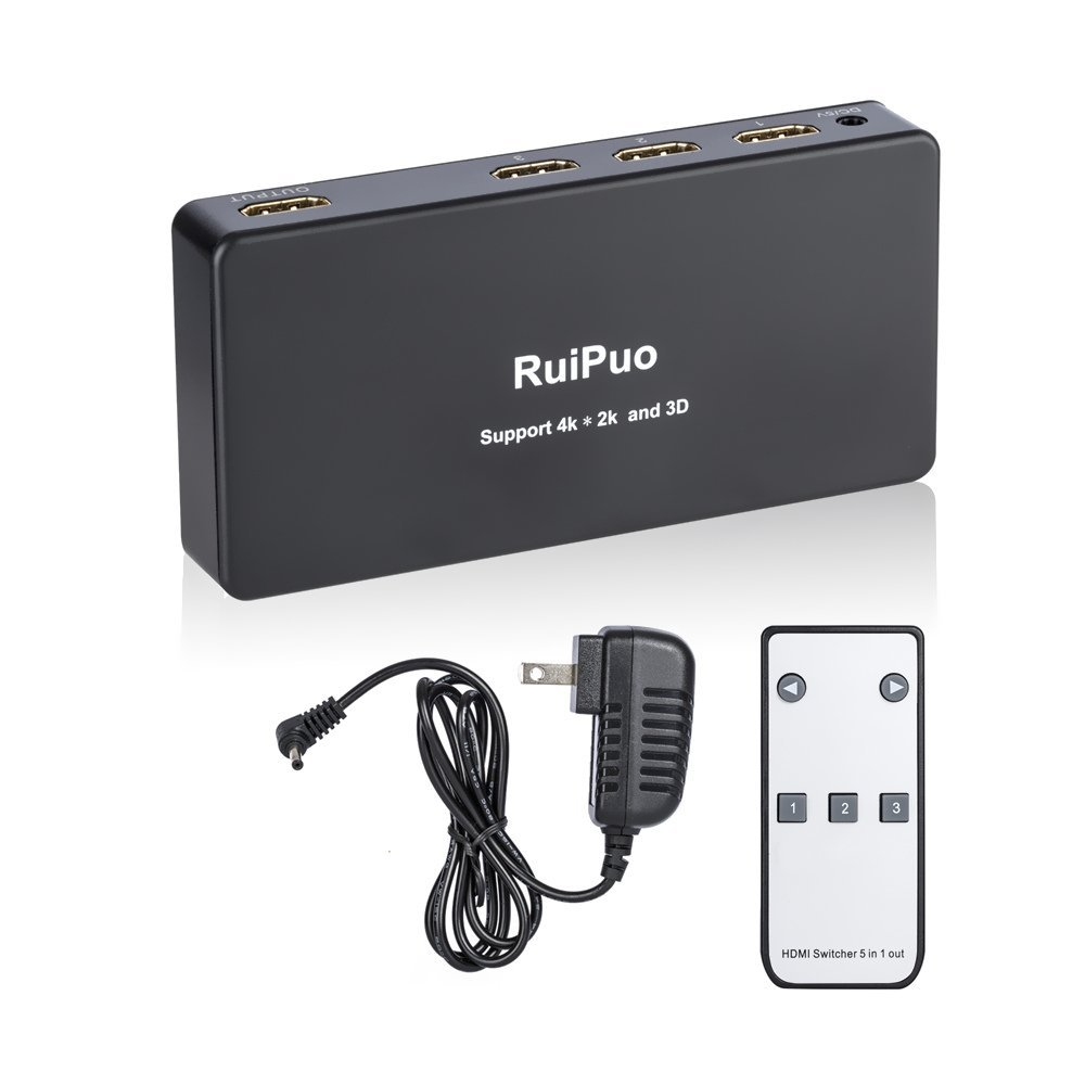 RuiPuo 4K HDMI Switch With Remote, 3 Port HDMI Switch  4k x 2k   3D Ready  IR remote switch - Manual switch   36-48-bit Deep Color   4K / 2160p at 30 Hz   HDCP  Power supply, Black color
