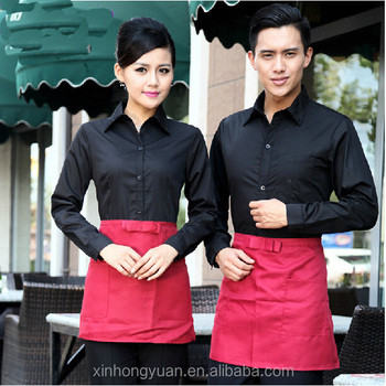 custom fashion restaurant coffee shop waiter and waitress workwear uniform