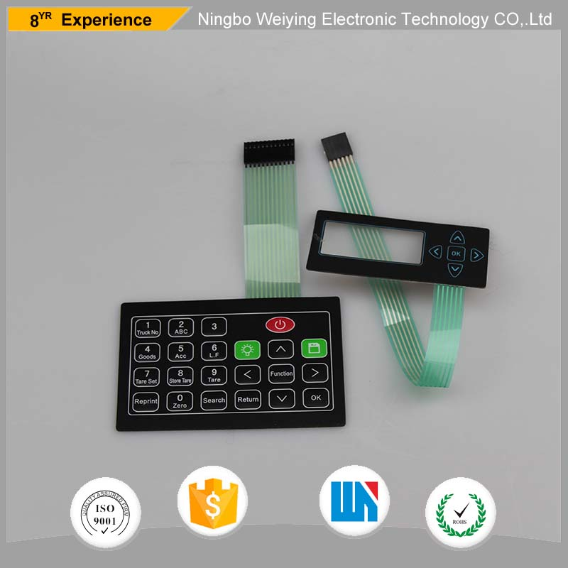 PET/PC/PVC Customized Membrane Switch keypad/pvc printing membrane front panel with transparent LCD