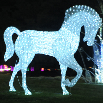 outdoor 3d life size commercial led animals sculptures horse lighted acrylic christmas decorations - Lighted Animals Christmas Decoration