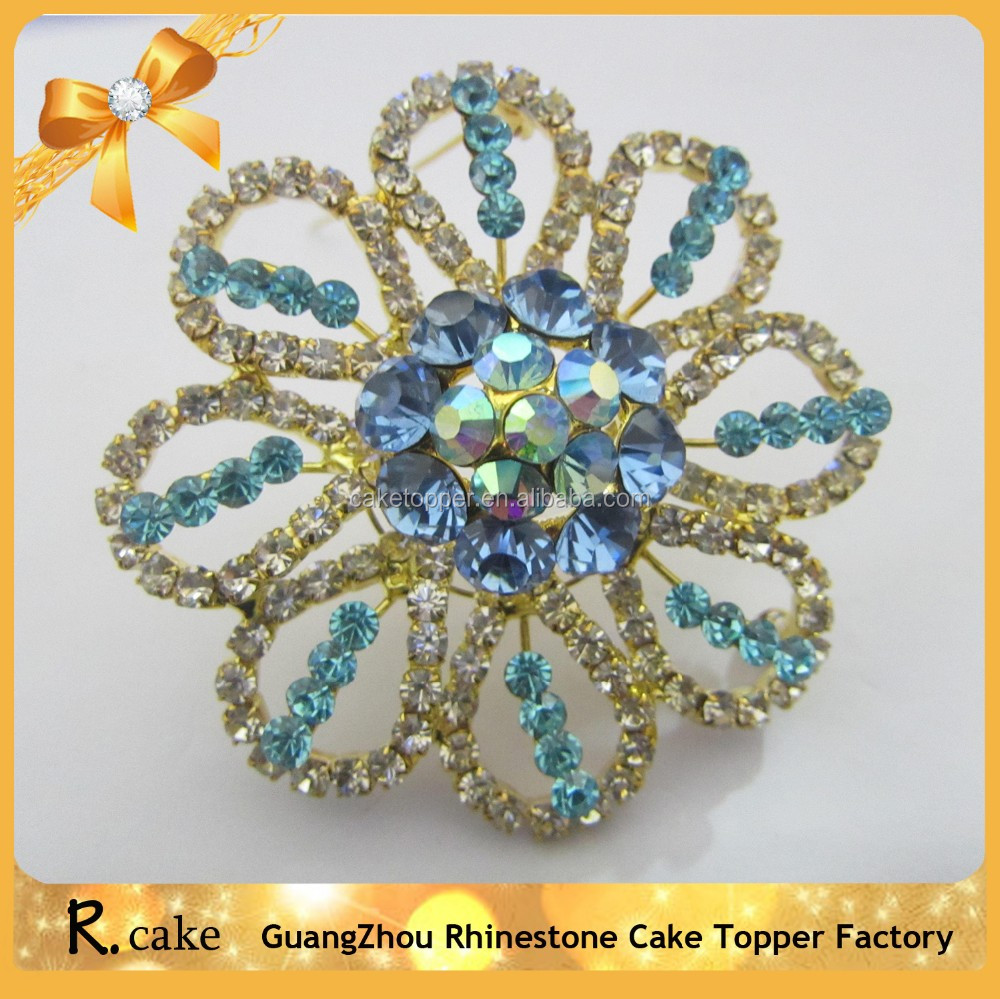 Hot Sale Delicate Gold Alloy Crystal And Blue Diamond Flower ...