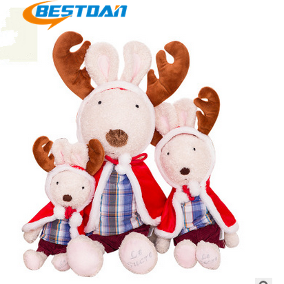 Bestdan custom plush stuffed toy christmas elk style <strong>rabbit</strong> as kid toy