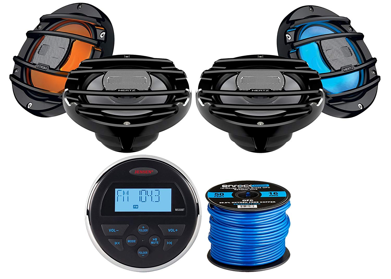 "Jensen MS30BTR Mechless Compact Waterproof Stereo w/Bluetooth & USB Inputs, 4 x Hertz Audio 6.5"" Marine Coaxial Speakers w/RGB Lighting (Black), Enrock Marine-Grade 50Ft 16-Gauge Speaker Wire"