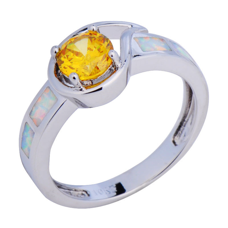 Champagne Sapphire Topaz Jewelry Size6/7/8/9 Rainbow Opal White Gold Filled Band Anel Aneis Women Wedding Rings RP0056