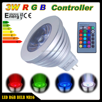 Multicolor MR16 3W RGB LED Light Bulb Lamp DC 12V 16 Colors 5 Modes IR Remote