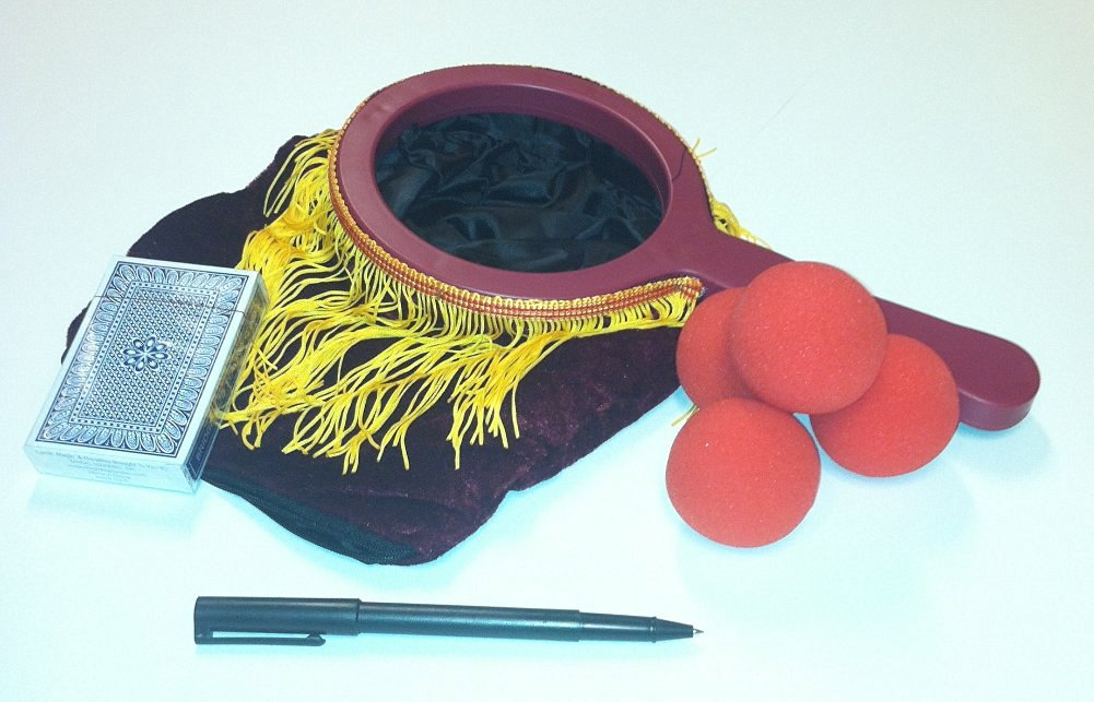 Complete Magic Set--Includes BIG FRINGE Zipper Change Bag; 4 Red Sponge Balls; Svengali Deck and Penetrating Pen