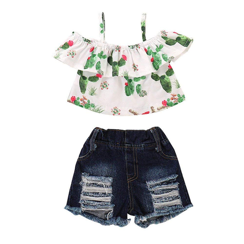fb5370ca3 Get Quotations · 2Pcs/Set Toddler Baby Girls Floral Ruffle Off Shoulder  Tank Tops Shirt + Denim Shorts