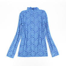Hot selling chic ontwerp hoge hals casual lace blouse voor vrouw