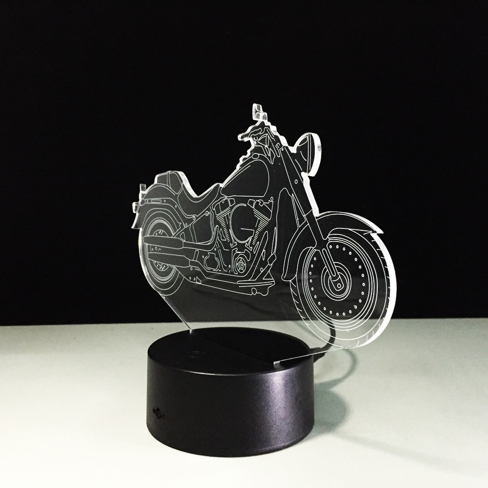 Popular Hot Sale 3D illusion Motorcycle Model small USB LED lamp glow night light for home bedroom decoration