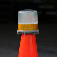 blue emitting reflective signal solar led flashing traffic barricade light