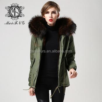 09085717b94 Army Green Cotton Shell Womens Parka Jackets Uk,Faux Fur Inside Brown Real  Fox Fur Raccoon - Buy Womens Parka,Brown Fur Hood Parkas,Womens Parka ...