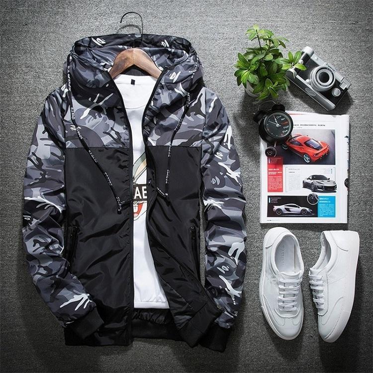 Großhandel Individuelles Logo Mode Hip Hop Tarnung Mit Kapuze wind breaker camo Windjacke pullover Jacken Mantel Männer