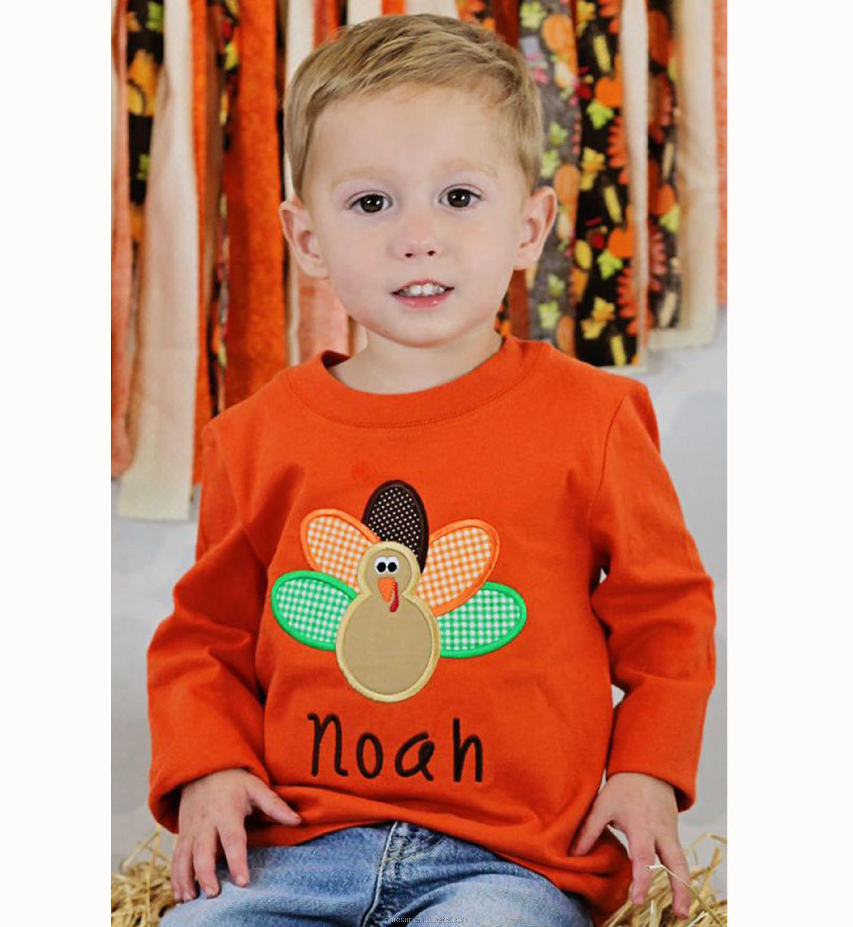 Lovely Baby Boy 100 Cotton Long Sleeve Printing Cute Turkey Toddler