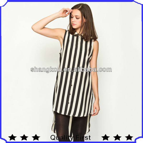Chiffon stripes Short Front Long Back Top Latest Tops Designs Girls